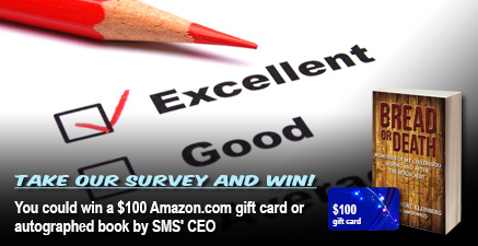 You could win a $100 Amazon.com gift card or autographed book by SMS' CEO